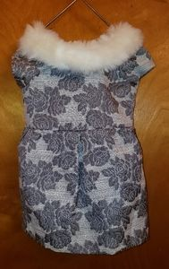 Janie and Jack Jaquard dress with faux fur collar!